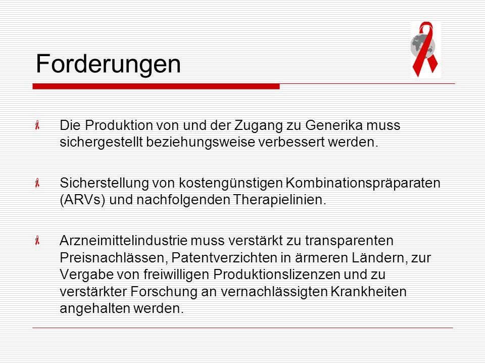 Forderungen Die Produktion von und der Zugang zu Generika muss sichergestellt beziehungsweise verbessert werden. Sicherstellung von kostengünstigen Ko