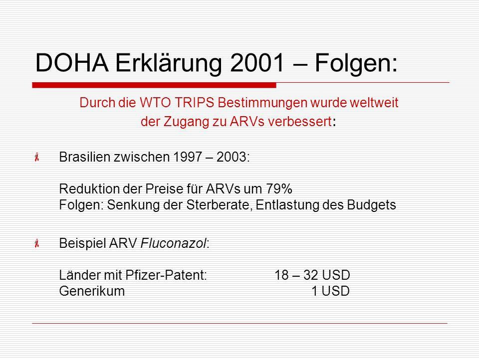 DOHA Erklärung 2001 – Folgen: Durch die WTO TRIPS Bestimmungen wurde weltweit der Zugang zu ARVs verbessert : Brasilien zwischen 1997 – 2003: Reduktio