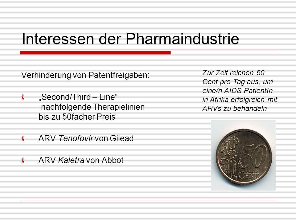 Interessen der Pharmaindustrie Verhinderung von Patentfreigaben: Second/Third – Line nachfolgende Therapielinien bis zu 50facher Preis ARV Tenofovir v