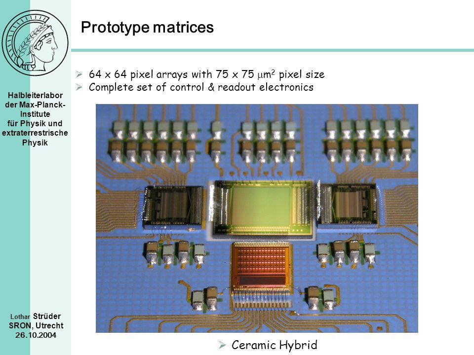 Halbleiterlabor der Max-Planck- Institute für Physik und extraterrestrische Physik Lothar Strüder SRON, Utrecht 26.10.2004 Prototype matrices Ceramic