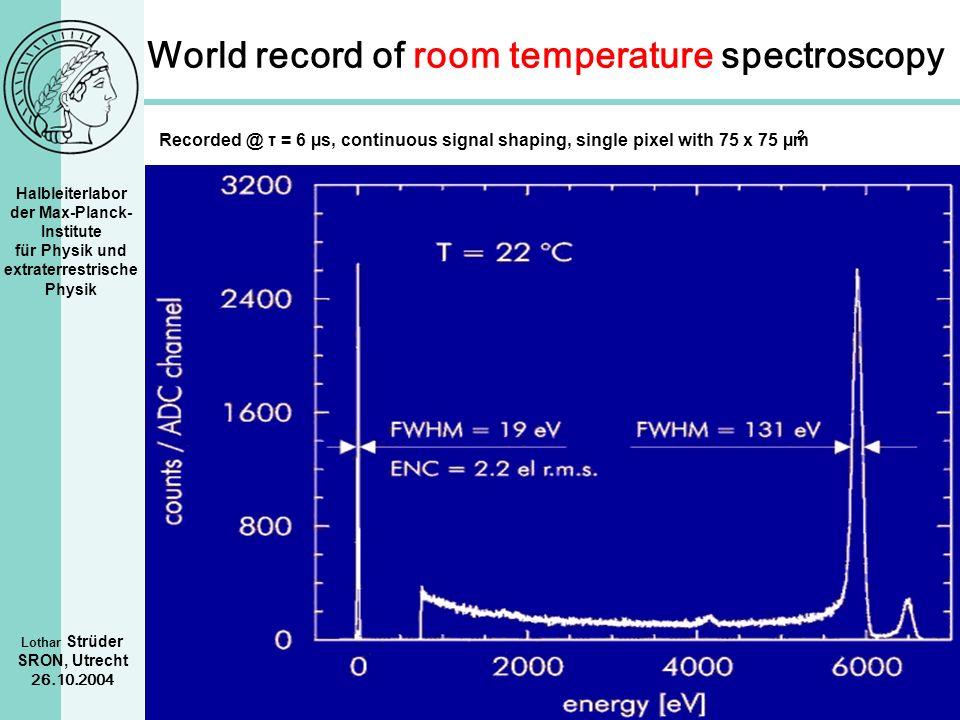 Halbleiterlabor der Max-Planck- Institute für Physik und extraterrestrische Physik Lothar Strüder SRON, Utrecht 26.10.2004 World record of room temper