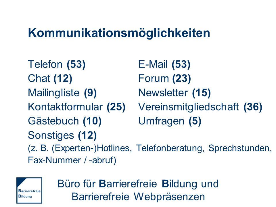 Kommunikationsmöglichkeiten Telefon (53)E-Mail (53) Chat (12)Forum (23) Mailingliste (9)Newsletter (15) Kontaktformular (25)Vereinsmitgliedschaft (36)