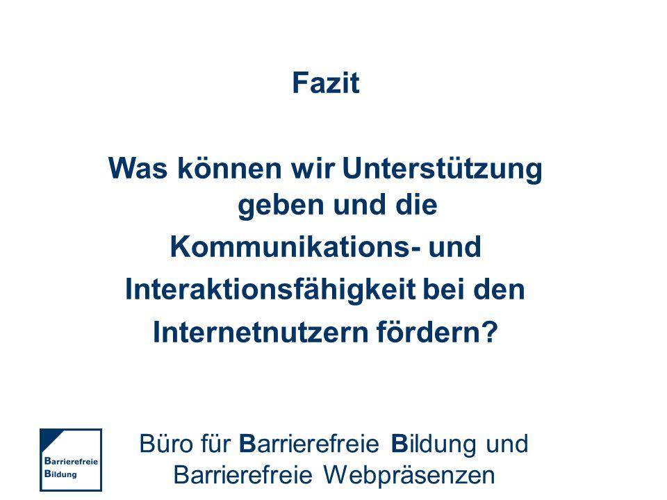 Kontakt Büro für Barrierefreie Bildung und Barrierefreie Webpräsenzen Hofsteder Straße 34 44791 Bochum Telefon: 02 34 / 6 10 – 36 60 Fax: 02 34 / 6 10 – 39 09 www.bf-bildung.de info@bf-bildung.de Büro für Barrierefreie Bildung und Barrierefreie Webpräsenzen