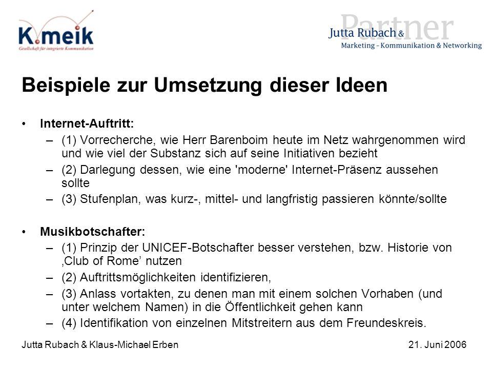 Jutta Rubach & Klaus-Michael Erben21. Juni 2006 Beispiele zur Umsetzung dieser Ideen Internet-Auftritt: –(1) Vorrecherche, wie Herr Barenboim heute im