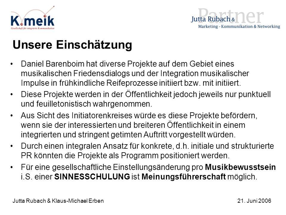 Jutta Rubach & Klaus-Michael Erben21. Juni 2006 Unsere Einschätzung Daniel Barenboim hat diverse Projekte auf dem Gebiet eines musikalischen Friedensd