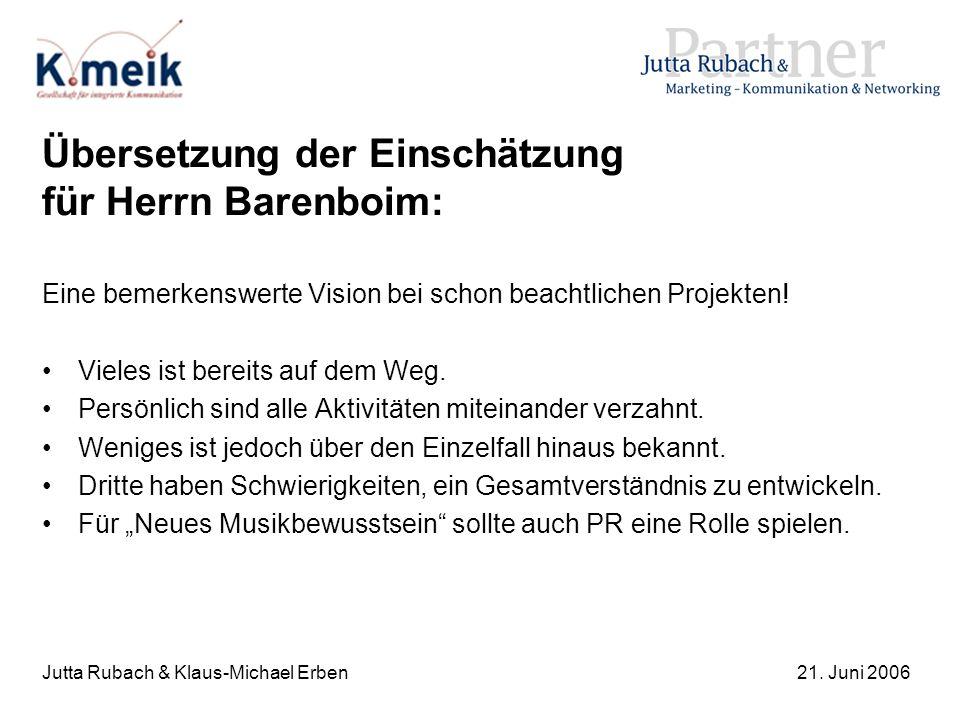 Jutta Rubach & Klaus-Michael Erben21. Juni 2006 Übersetzung der Einschätzung für Herrn Barenboim: Eine bemerkenswerte Vision bei schon beachtlichen Pr
