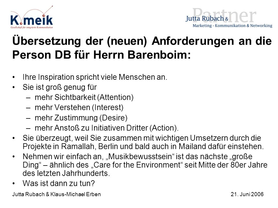 Jutta Rubach & Klaus-Michael Erben21. Juni 2006 Übersetzung der (neuen) Anforderungen an die Person DB für Herrn Barenboim: Ihre Inspiration spricht v