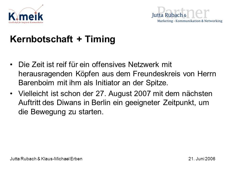 Jutta Rubach & Klaus-Michael Erben21. Juni 2006 Kernbotschaft + Timing Die Zeit ist reif für ein offensives Netzwerk mit herausragenden Köpfen aus dem