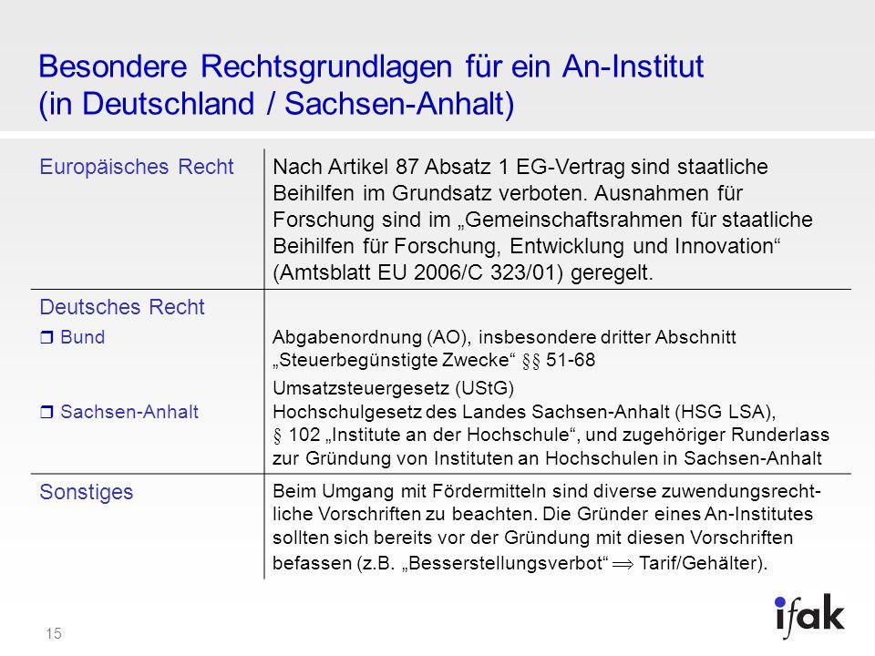 15 Besondere Rechtsgrundlagen für ein An-Institut (in Deutschland / Sachsen-Anhalt) Europäisches RechtNach Artikel 87 Absatz 1 EG-Vertrag sind staatli