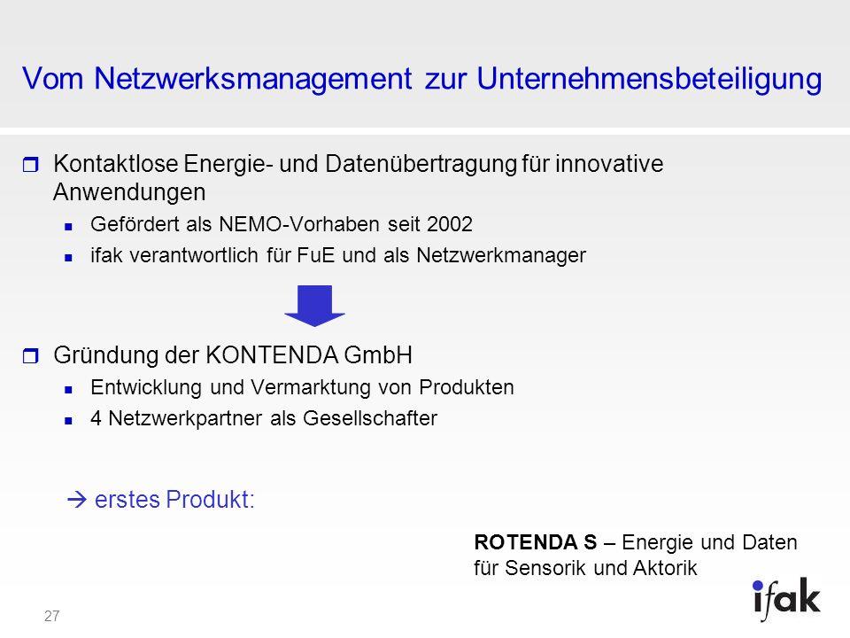 27 Vom Netzwerksmanagement zur Unternehmensbeteiligung Kontaktlose Energie- und Datenübertragung für innovative Anwendungen Gefördert als NEMO-Vorhabe