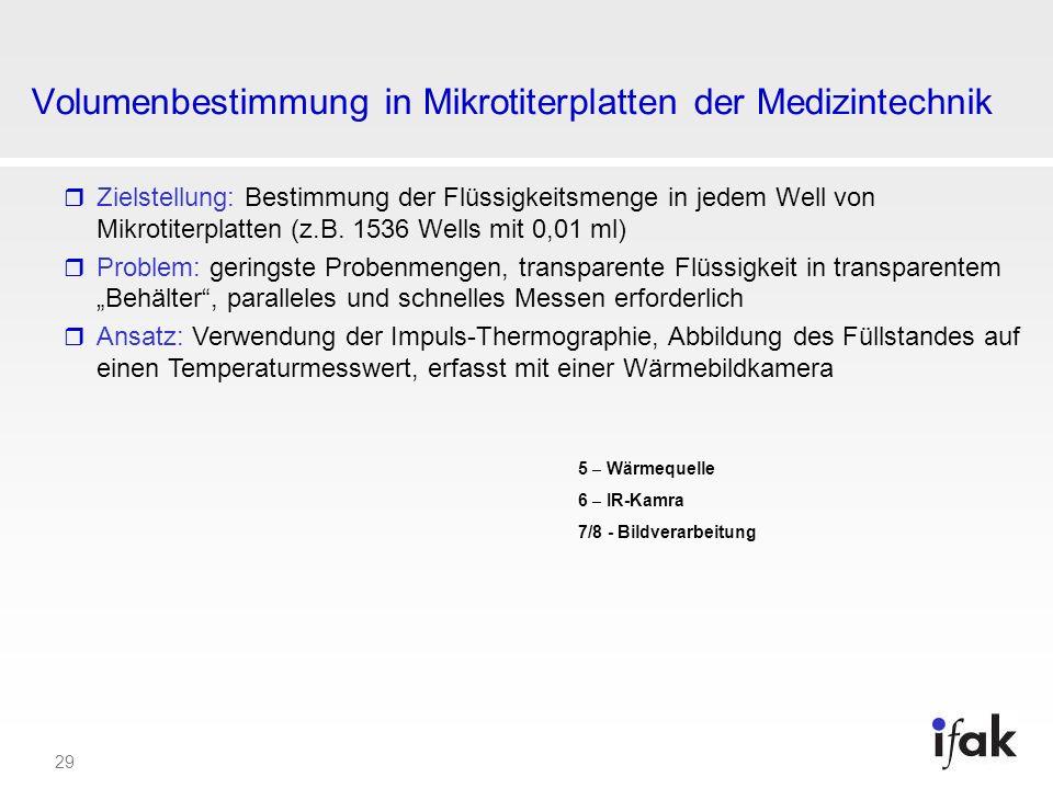 29 Volumenbestimmung in Mikrotiterplatten der Medizintechnik Zielstellung: Bestimmung der Flüssigkeitsmenge in jedem Well von Mikrotiterplatten (z.B.