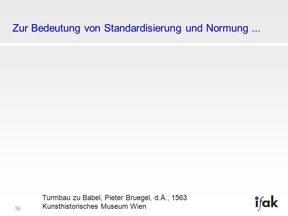 38 Zur Bedeutung von Standardisierung und Normung... Turmbau zu Babel, Pieter Bruegel, d.Ä., 1563 Kunsthistorisches Museum Wien