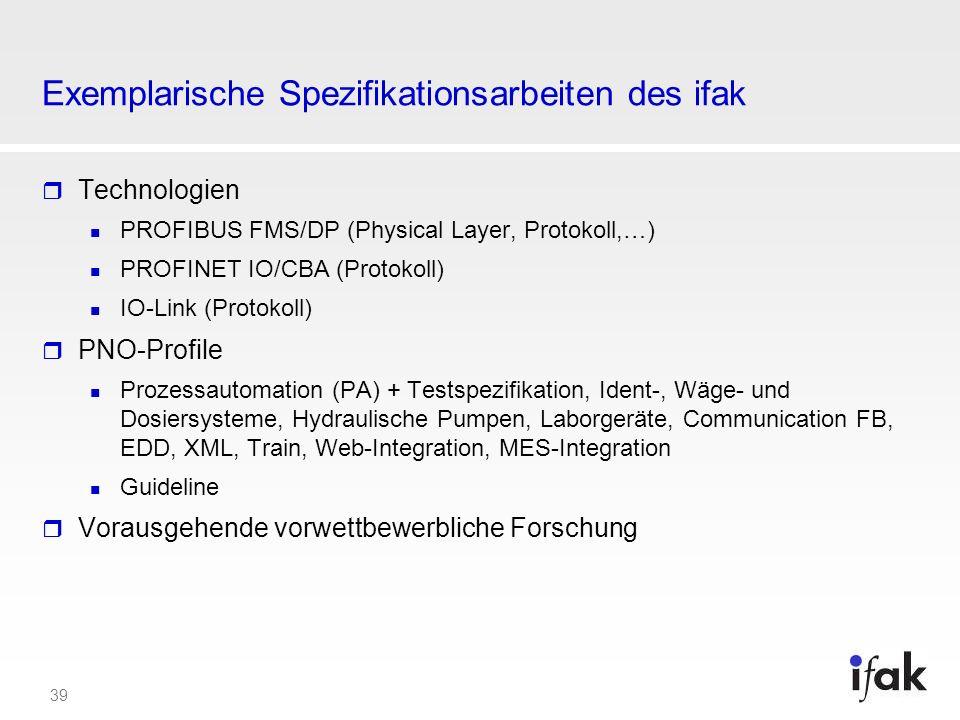 39 Exemplarische Spezifikationsarbeiten des ifak Technologien PROFIBUS FMS/DP (Physical Layer, Protokoll,…) PROFINET IO/CBA (Protokoll) IO-Link (Proto
