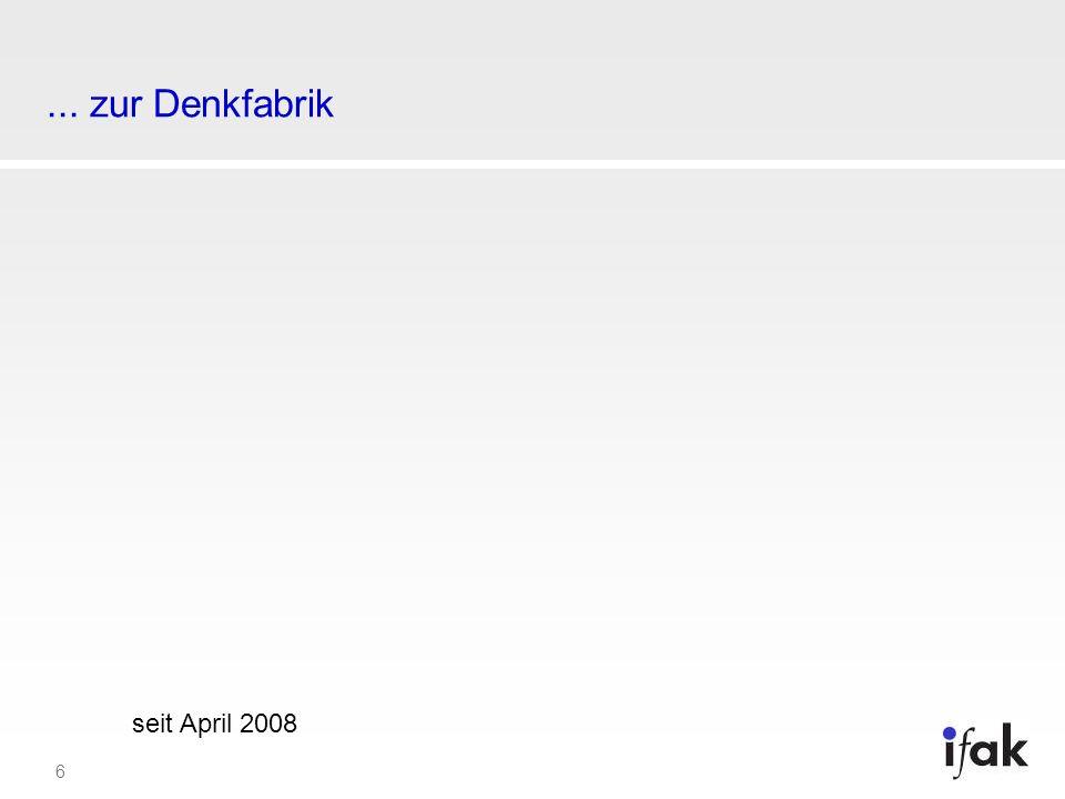 7 Steckbrief des Instituts ifak Institut der angewandten Forschung 1991 gegründeter gemeinnütziger Verein ifak e.V.