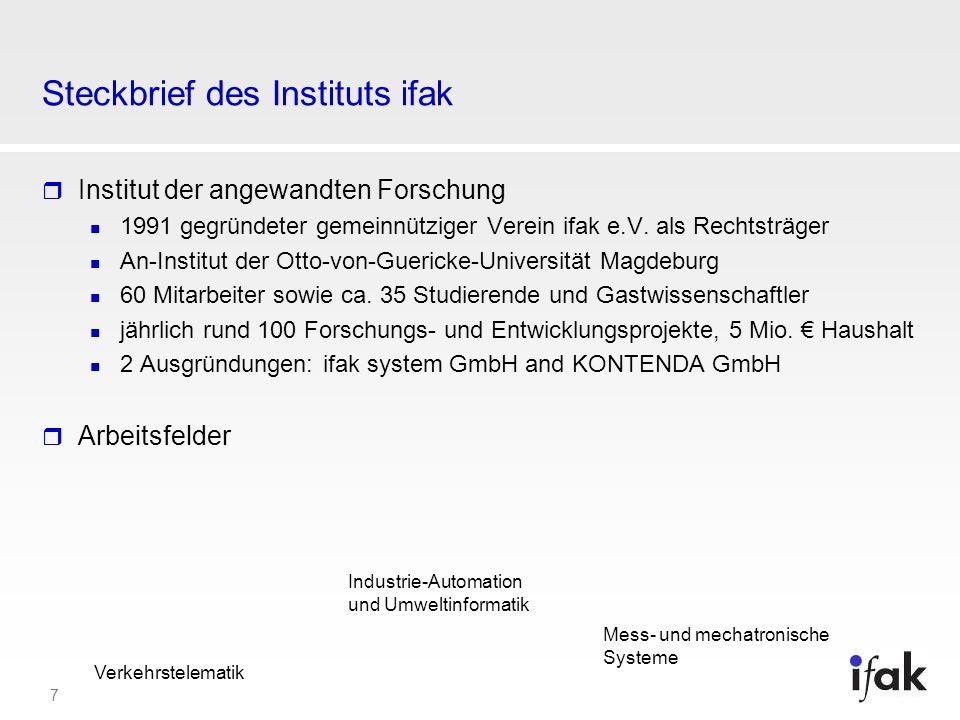 7 Steckbrief des Instituts ifak Institut der angewandten Forschung 1991 gegründeter gemeinnütziger Verein ifak e.V. als Rechtsträger An-Institut der O