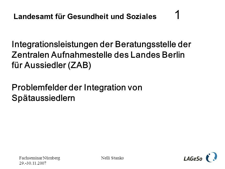 Fachseminar Nürnberg 29.-30.11.2007 Nelli Stanko Zentrale Aufnahmestelle des Landes Berlin für Aussiedler (ZAB)