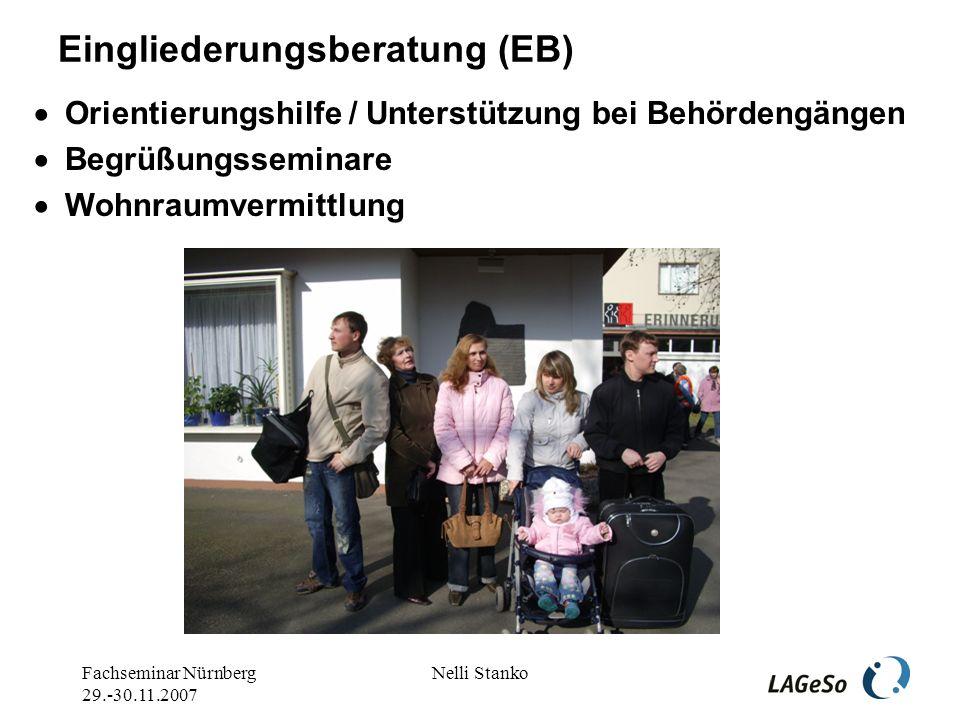 Fachseminar Nürnberg 29.-30.11.2007 Nelli Stanko Eingliederungsberatung (EB) Orientierungshilfe / Unterstützung bei Behördengängen Begrüßungsseminare Wohnraumvermittlung