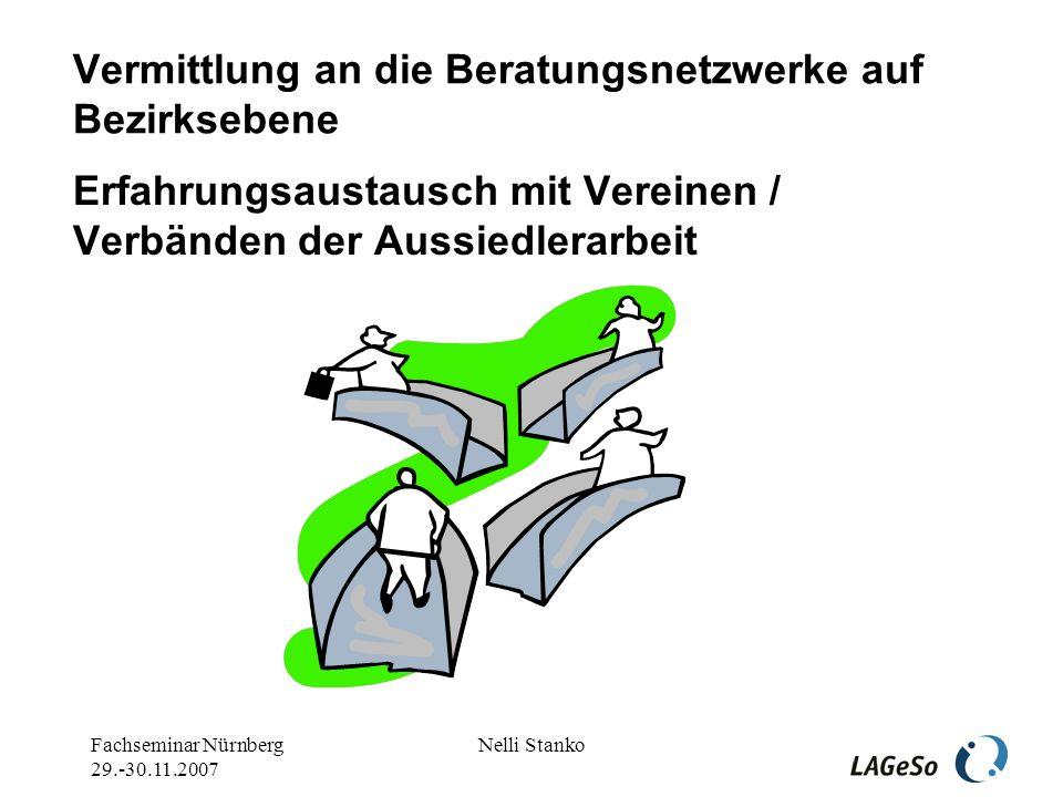Fachseminar Nürnberg 29.-30.11.2007 Nelli Stanko Spätaussiedler – ein Sonderfall der Migration und ein Sonderfall der Integration Gelungene Integration sieht man nicht.