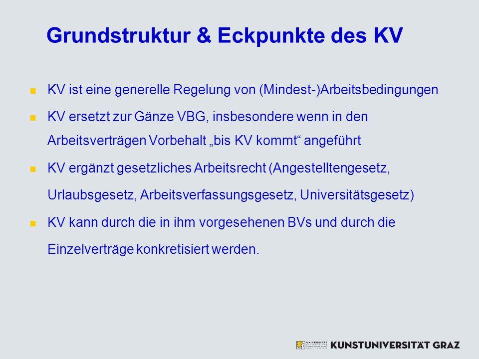 Grundstruktur & Eckpunkte des KV KV ist eine generelle Regelung von (Mindest-)Arbeitsbedingungen KV ersetzt zur Gänze VBG, insbesondere wenn in den Ar