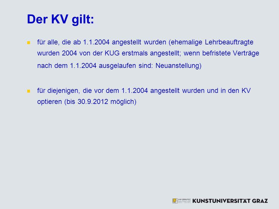 Der KV gilt: für alle, die ab 1.1.2004 angestellt wurden (ehemalige Lehrbeauftragte wurden 2004 von der KUG erstmals angestellt; wenn befristete Vertr