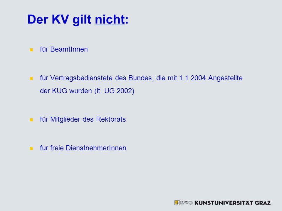 Der KV gilt nicht: für BeamtInnen für Vertragsbedienstete des Bundes, die mit 1.1.2004 Angestellte der KUG wurden (lt. UG 2002) für Mitglieder des Rek