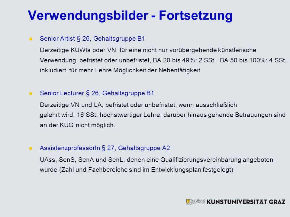 Verwendungsbilder - Fortsetzung Senior Artist § 26, Gehaltsgruppe B1 Derzeitige KÜWIs oder VN, für eine nicht nur vorübergehende künstlerische Verwend