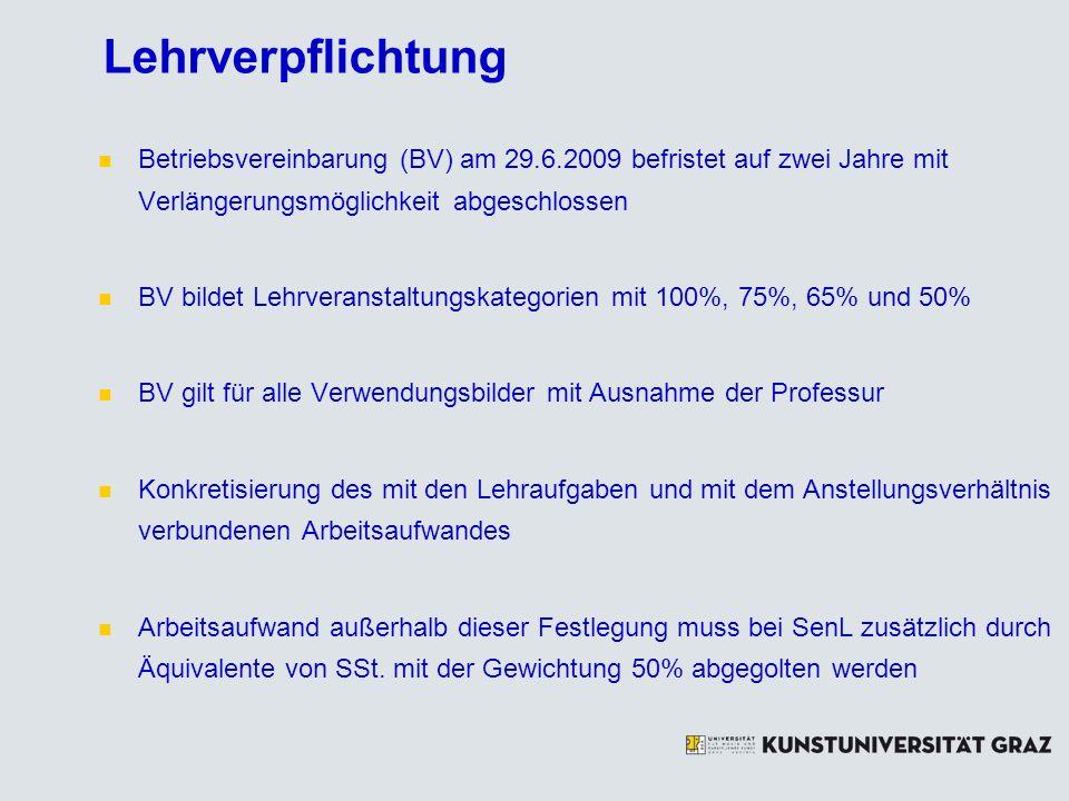 Lehrverpflichtung Betriebsvereinbarung (BV) am 29.6.2009 befristet auf zwei Jahre mit Verlängerungsmöglichkeit abgeschlossen BV bildet Lehrveranstaltu