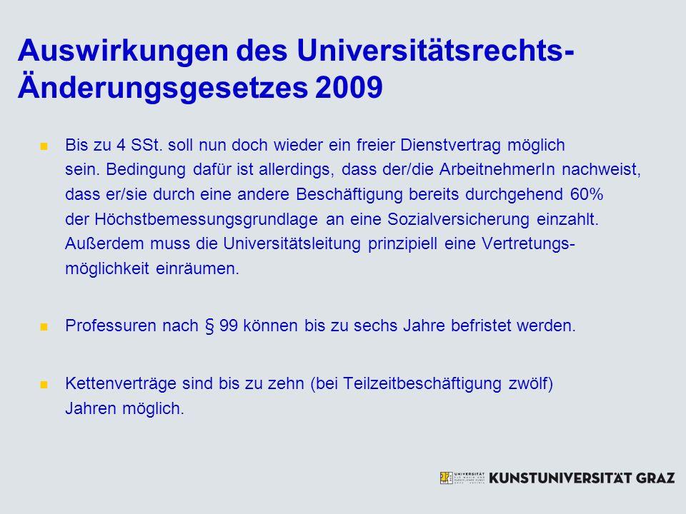 Auswirkungen des Universitätsrechts- Änderungsgesetzes 2009 Bis zu 4 SSt. soll nun doch wieder ein freier Dienstvertrag möglich sein. Bedingung dafür