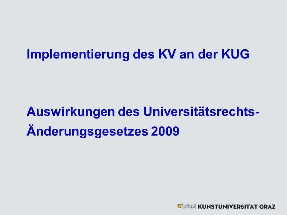 Implementierung des KV an der KUG Auswirkungen des Universitätsrechts- Änderungsgesetzes 2009