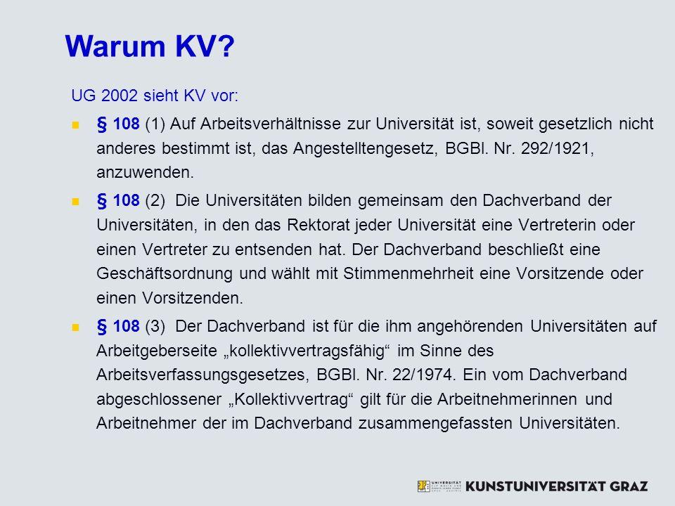 Warum KV? UG 2002 sieht KV vor: § 108 (1) Auf Arbeitsverhältnisse zur Universität ist, soweit gesetzlich nicht anderes bestimmt ist, das Angestellteng