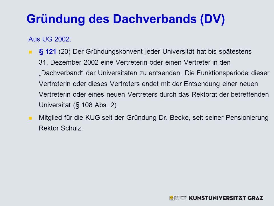 Gründung des Dachverbands (DV) Aus UG 2002: § 121 (20) Der Gründungskonvent jeder Universität hat bis spätestens 31. Dezember 2002 eine Vertreterin od