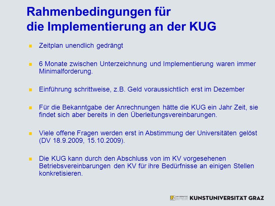 Rahmenbedingungen für die Implementierung an der KUG Zeitplan unendlich gedrängt 6 Monate zwischen Unterzeichnung und Implementierung waren immer Mini