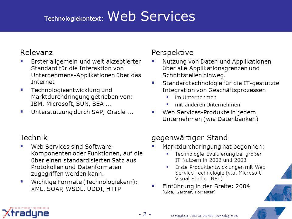 XML und Web Services Herausforderung für die Unternehmens-IT-Sicherheit Sebastian Staamann, CEO Xtradyne Technologies AG staamann@xtradyne.com Schönhauser Allee 6-7 D-10119 Berlin