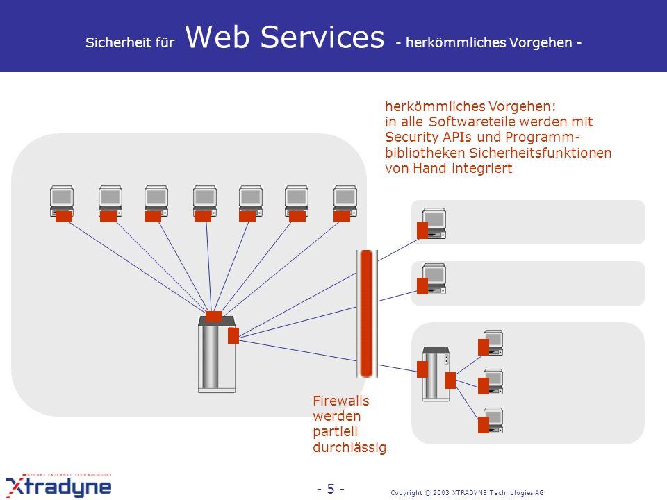 Copyright © 2003 XTRADYNE Technologies AG - 4 - Web Services-Sicherheit Relevanz Sicherheit ist Sorge Nr.1 der IT- Verantwortlichen, die Web Services- Technologie einführen wollen (Forrester, Gartner, 2002, 2003) Ohne Sicherheit kommt Web Services- Technologie nicht aus dem Back- Office-Bereich hinaus Einsetzbarkeit von Web Services in der Praxis hängt ab von Sicherheit.