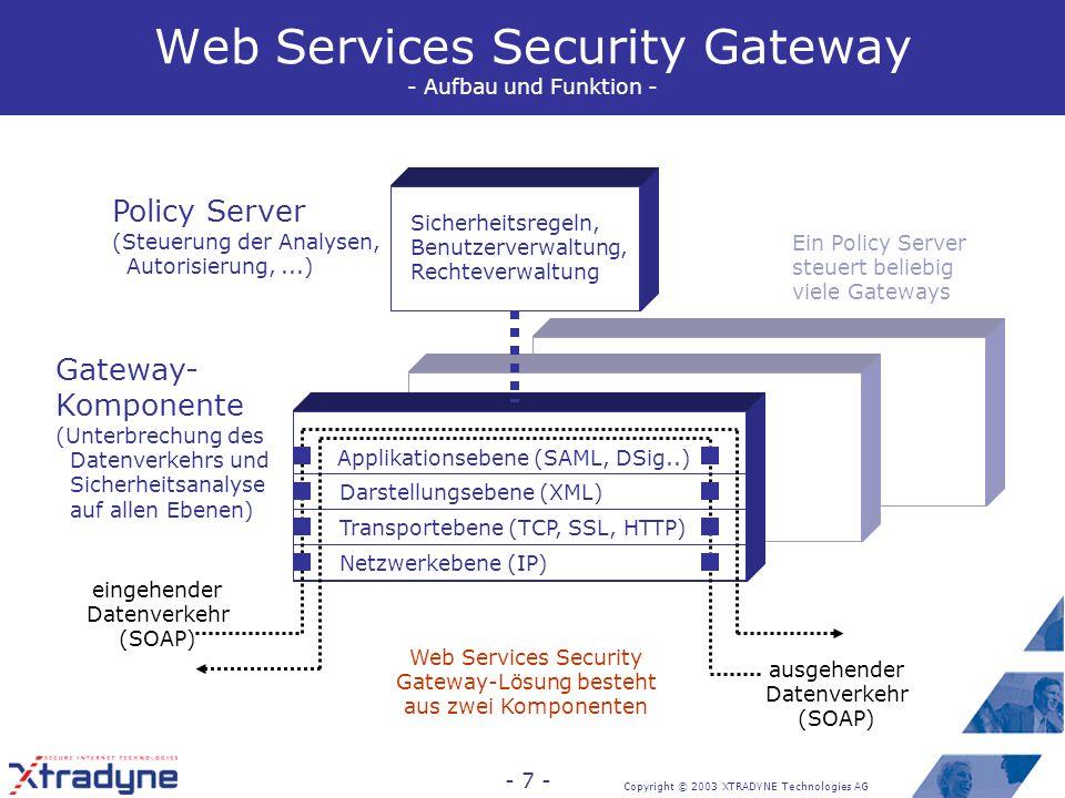 Copyright © 2003 XTRADYNE Technologies AG - 7 - Ein Policy Server steuert beliebig viele Gateways Web Services Security Gateway - Aufbau und Funktion - Applikationsebene (SAML, DSig..) Darstellungsebene (XML) Transportebene (TCP, SSL, HTTP) Netzwerkebene (IP) eingehender Datenverkehr (SOAP) ausgehender Datenverkehr (SOAP) Sicherheitsregeln, Benutzerverwaltung, Rechteverwaltung Policy Server (Steuerung der Analysen, Autorisierung,...) Gateway- Komponente (Unterbrechung des Datenverkehrs und Sicherheitsanalyse auf allen Ebenen) Web Services Security Gateway-Lösung besteht aus zwei Komponenten