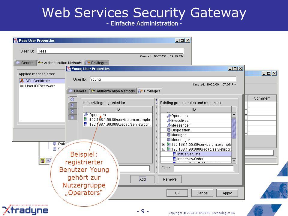 Copyright © 2003 XTRADYNE Technologies AG - 9 - Beispiel- funktion: Benutzer- verwaltung Web Services Security Gateway - Einfache Administration - Beispiel: für registrierten Benutzer Rees ist Authentisierung mit Public-Key- Zertifikat erlaubt Beispiel: registrierter Benutzer Young gehört zur Nutzergruppe Operators