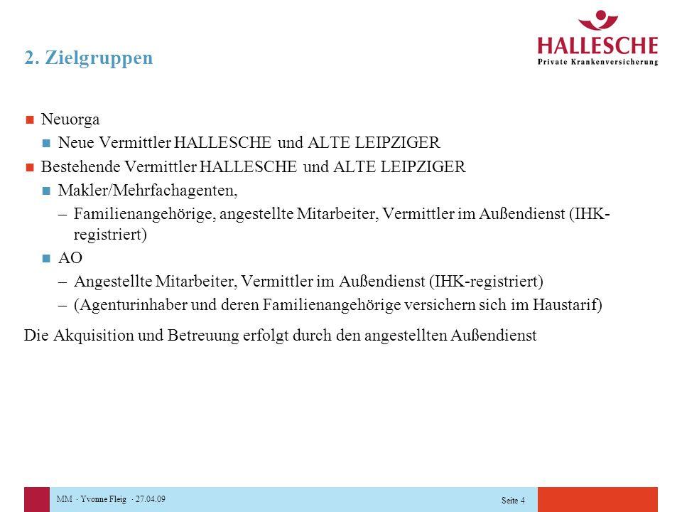 MM · Yvonne Fleig · 27.04.09 Seite 4 2. Zielgruppen Neuorga Neue Vermittler HALLESCHE und ALTE LEIPZIGER Bestehende Vermittler HALLESCHE und ALTE LEIP
