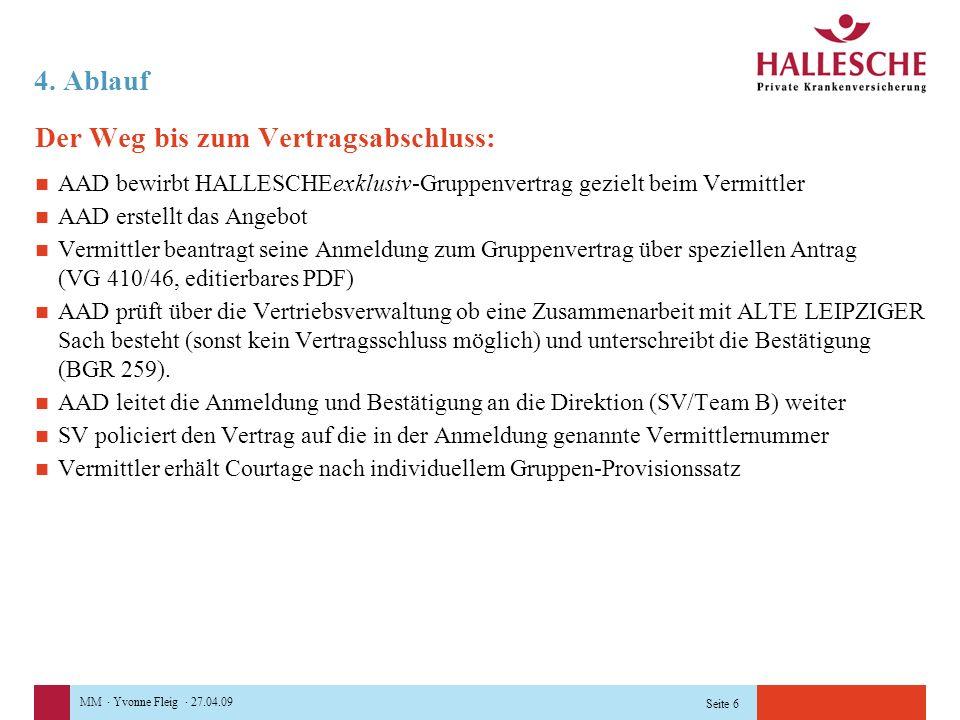 MM · Yvonne Fleig · 27.04.09 Seite 6 4. Ablauf Der Weg bis zum Vertragsabschluss: AAD bewirbt HALLESCHEexklusiv-Gruppenvertrag gezielt beim Vermittler