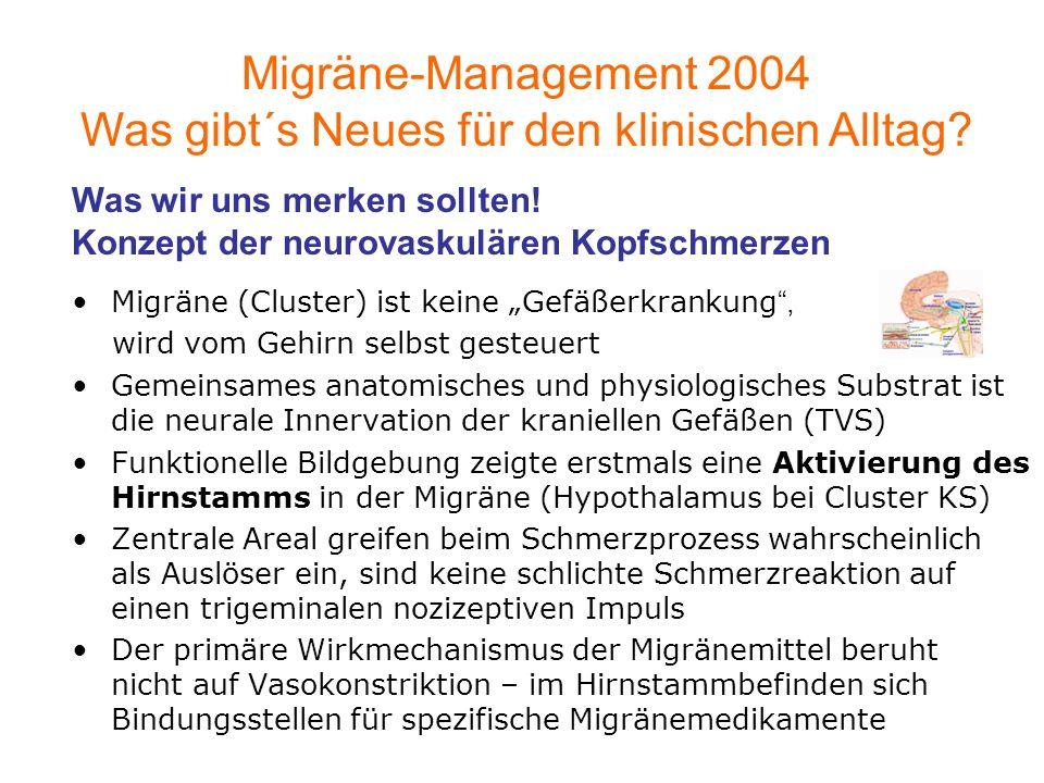 Migräne (Cluster) ist keine Gefäßerkrankung, wird vom Gehirn selbst gesteuert Gemeinsames anatomisches und physiologisches Substrat ist die neurale In