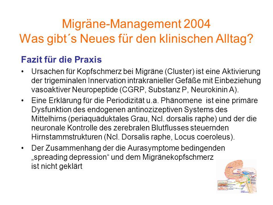 Fazit für die Praxis Ursachen für Kopfschmerz bei Migräne (Cluster) ist eine Aktivierung der trigeminalen Innervation intrakranieller Gefäße mit Einbe