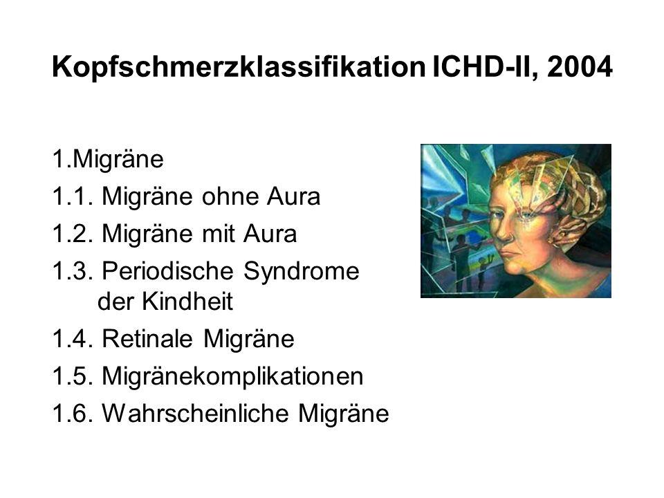 1.Migräne 1.1. Migräne ohne Aura 1.2. Migräne mit Aura 1.3. Periodische Syndrome der Kindheit 1.4. Retinale Migräne 1.5. Migränekomplikationen 1.6. Wa