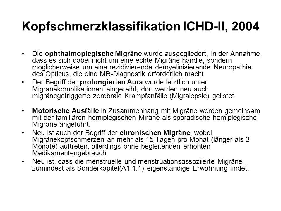 Die ophthalmoplegische Migräne wurde ausgegliedert, in der Annahme, dass es sich dabei nicht um eine echte Migräne handle, sondern möglicherweise um e