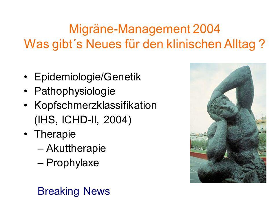 Migräne-Management 2004 Was gibt´s Neues für den klinischen Alltag ? Epidemiologie/Genetik Pathophysiologie Kopfschmerzklassifikation (IHS, ICHD-II, 2