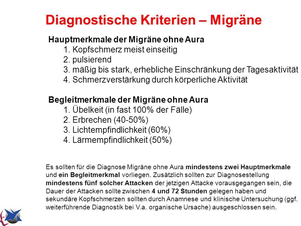 Diagnostische Kriterien – Migräne Hauptmerkmale der Migräne ohne Aura 1. Kopfschmerz meist einseitig 2. pulsierend 3. mäßig bis stark, erhebliche Eins