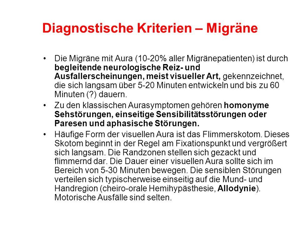 Die Migräne mit Aura (10-20% aller Migränepatienten) ist durch begleitende neurologische Reiz- und Ausfallerscheinungen, meist visueller Art, gekennze