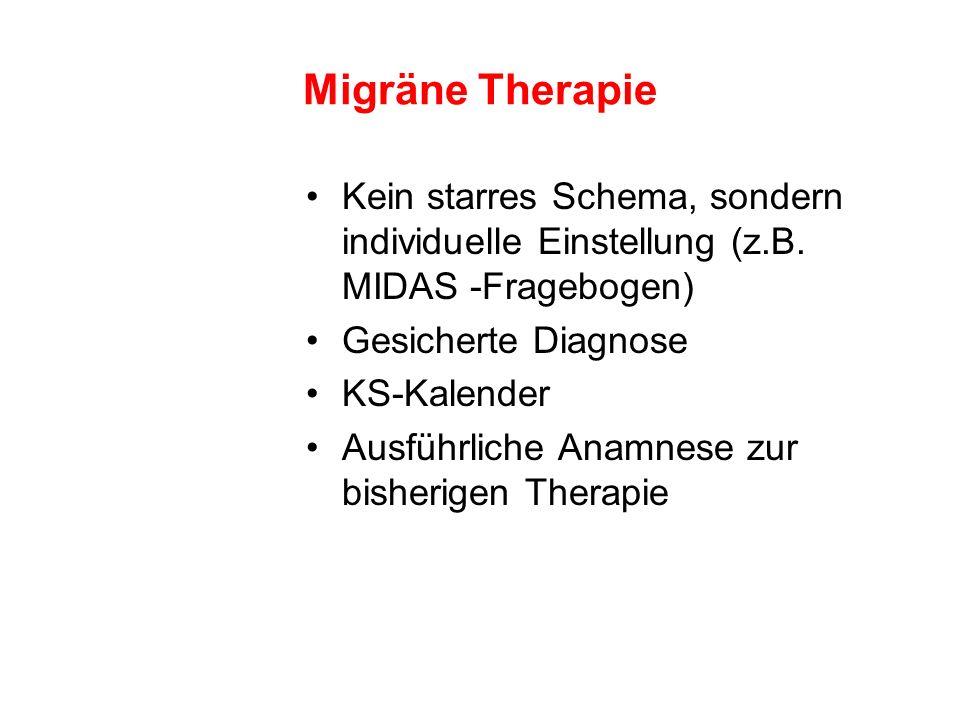 Migräne Therapie Kein starres Schema, sondern individuelle Einstellung (z.B. MIDAS -Fragebogen) Gesicherte Diagnose KS-Kalender Ausführliche Anamnese