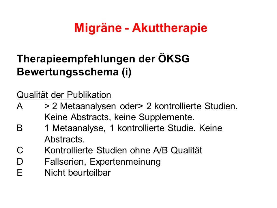 Therapieempfehlungen der ÖKSG Bewertungsschema (i) Qualität der Publikation A > 2 Metaanalysen oder> 2 kontrollierte Studien. Keine Abstracts, keine S