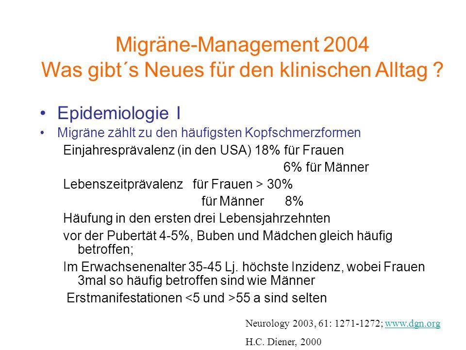 Epidemiologie I Migräne zählt zu den häufigsten Kopfschmerzformen Einjahresprävalenz (in den USA) 18% für Frauen 6% für Männer Lebenszeitprävalenz für