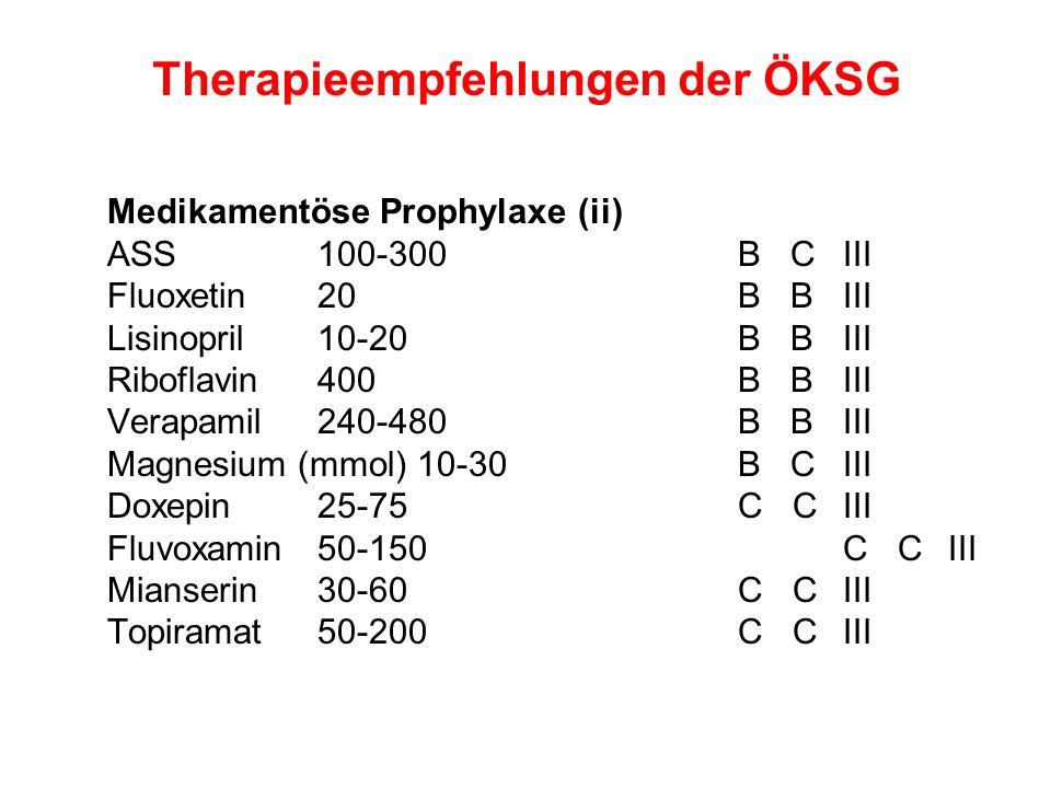 Therapieempfehlungen der ÖKSG Medikamentöse Prophylaxe (ii) ASS 100-300 B CIII Fluoxetin 20 B BIII Lisinopril 10-20 B BIII Riboflavin 400 B BIII Verap
