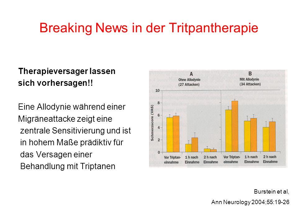 Breaking News in der Tritpantherapie Therapieversager lassen sich vorhersagen!! Eine Allodynie während einer Migräneattacke zeigt eine zentrale Sensit